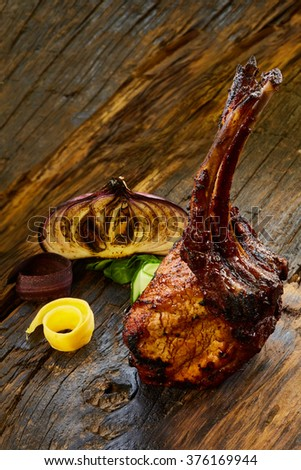 Grilled Pork Chop With Ribs - stock photo