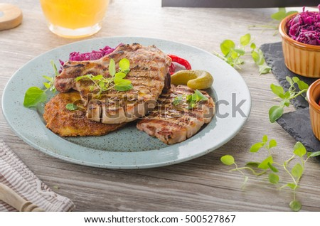 Grilled pork chops with herbs and garlic, potato pancakes, summer time, grilling time!