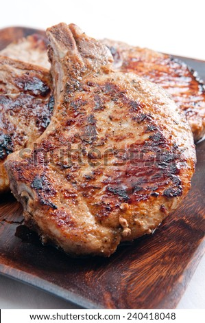grilled pork cops with seasonings done on the grill