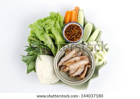 grilled pork neck, Thai style gourmet food.  - stock photo