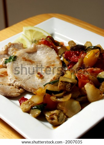 grilled pork steak whit vegetables - stock photo