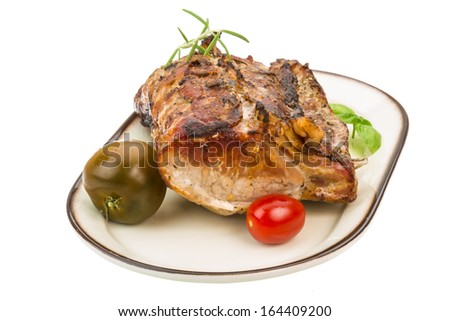 Grilled pork with rosemary - stock photo
