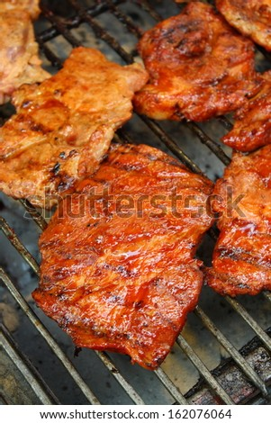 grilled pork with sauce