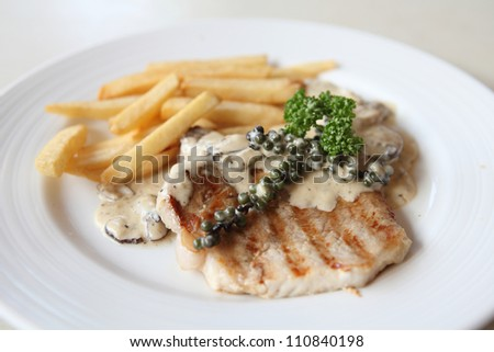 Grilled Porkchop with white sauce