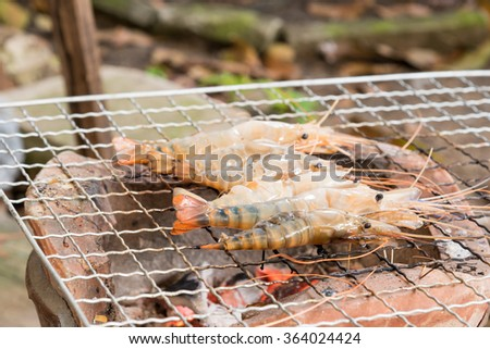 grilled prawns on the grill, thai style
