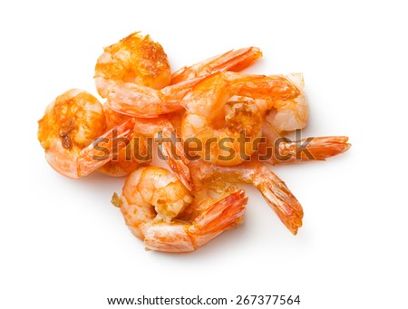 grilled prawns on white background - stock photo