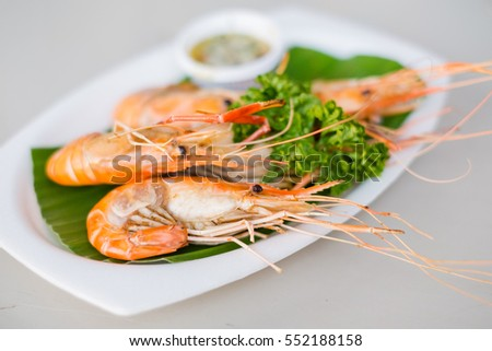 Grilled prawns with seafood sauce
