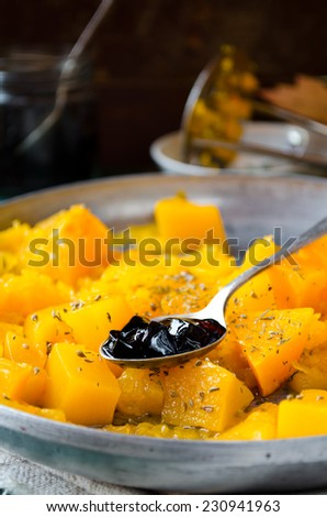 grilled pumpkin with spices and blackcurrent jam