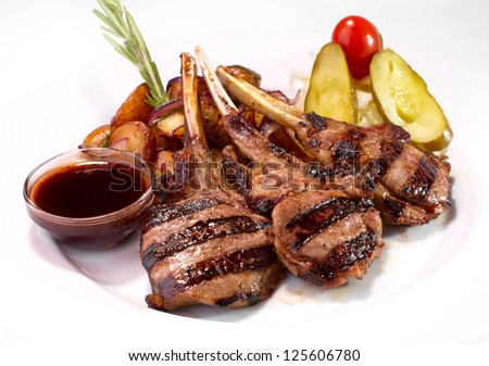 grilled rack of veal with potato