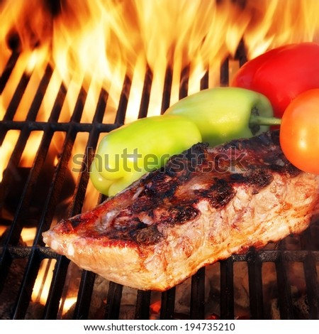 Grilled Ribs with Bell Pepper and tomato.You can see more BBQ food, BBQ Tools, Flaming Grill, Burning&Glowing Coal in my image gallery and public sets.