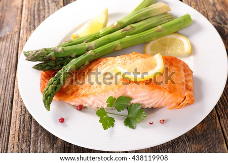 grilled salmon and asparagus - stock photo