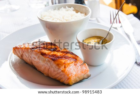 grilled salmon and rice-french cuisine dish with salmon