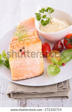 grilled salmon and sauce