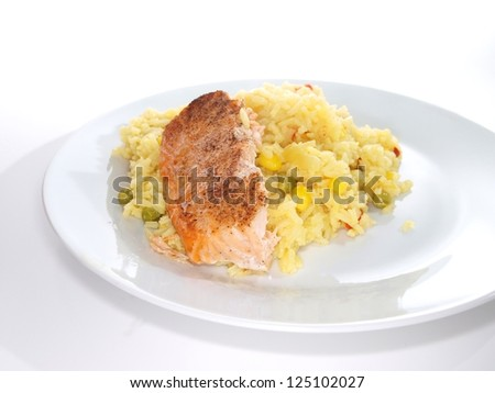 Grilled salmon fish piece, on a plate towards white