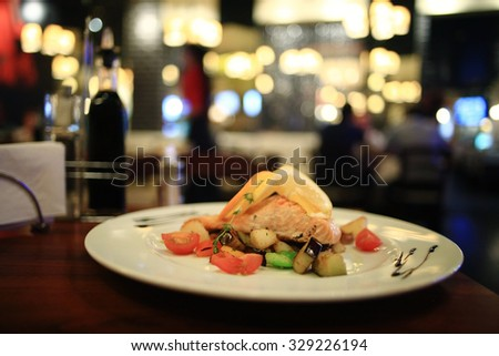 grilled salmon served in restaurant