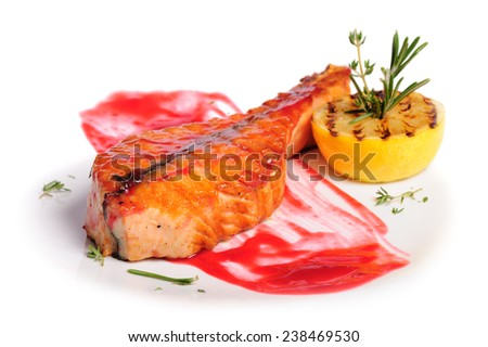 Grilled salmon steak - stock photo