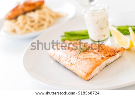 grilled salmon steak on the table