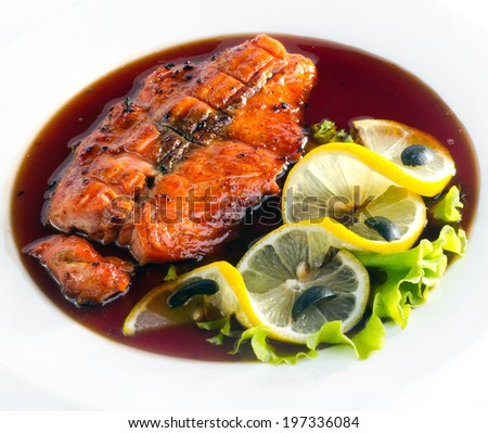 Grilled Salmon Steak with lemon