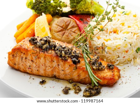 Grilled Salmon with Vegetables and Rice - stock photo