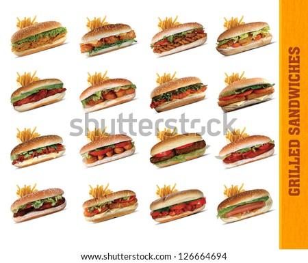 Grilled Sandwich set - stock photo