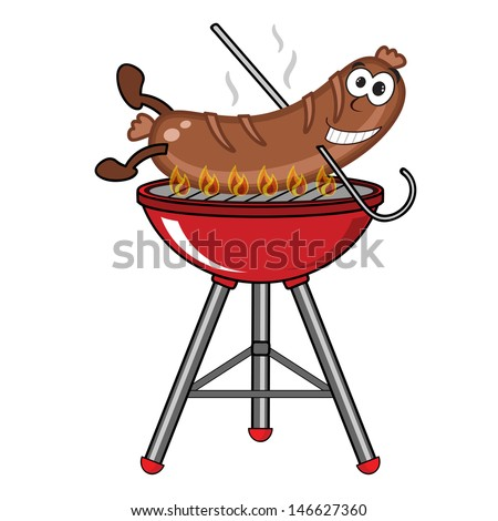 Grilled sausage on barbecue . - stock photo