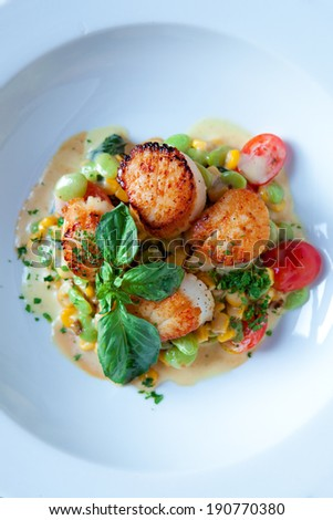 Grilled Scallops Dish - stock photo