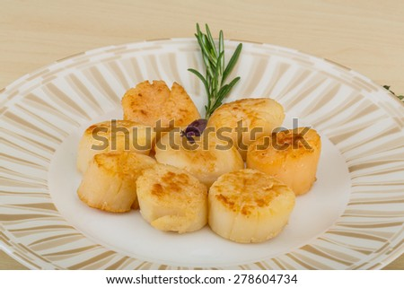 Grilled scallops in the bowl with herbs