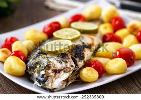Grilled sea bream - stock photo