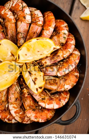 grilled seafood - stock photo