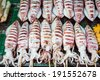 Grilled seafood on a market in ang sila, Thailand  - stock photo