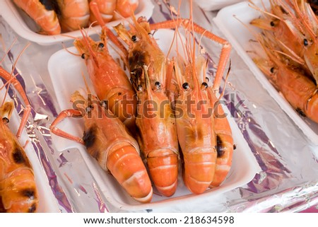 Grilled shrimp from street food market - stock photo