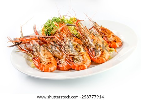 Grilled Shrimp in a plate on white background - stock photo