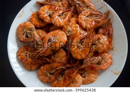 grilled shrimp on dish