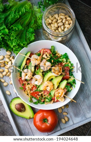 Grilled Shrimp salad with ingredients - stock photo