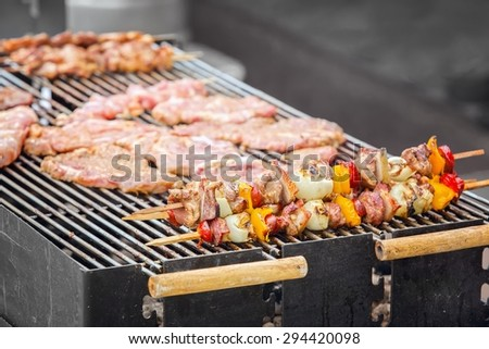 Grilled skewers on an outdoor fireplace (shallow DOF). - stock photo