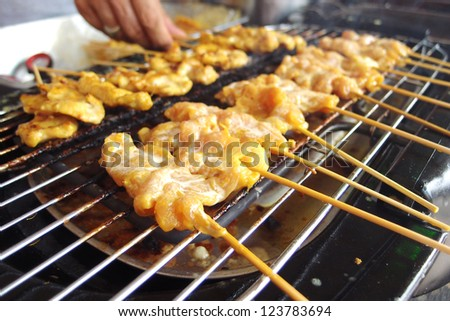 Grilled spices pork (named Satay in Thai) - stock photo