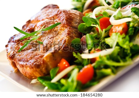Grilled steak and vegetables  - stock photo