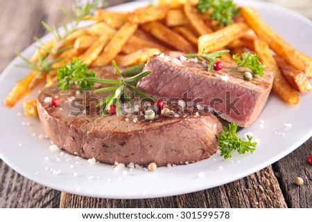grilled steak beef and french fries