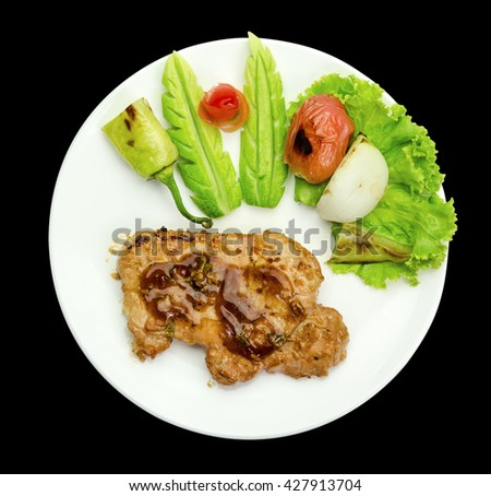 Grilled steak meat  isolated on black background,clipping path - stock photo