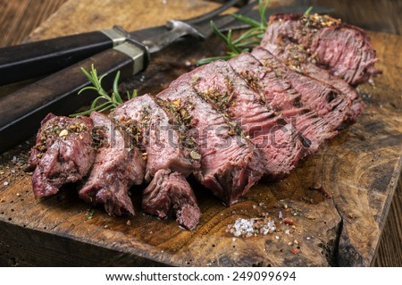 Grilled Steak Slices - stock photo