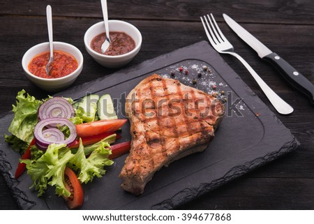 grilled steak with fresh vegetables