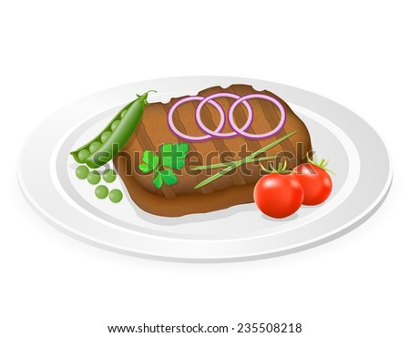 grilled steak with vegetables on a plate illustration isolated on white background - stock photo