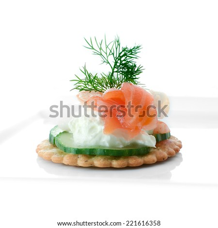 Smoked salmon canape stock images royalty free images for Canape garnishes