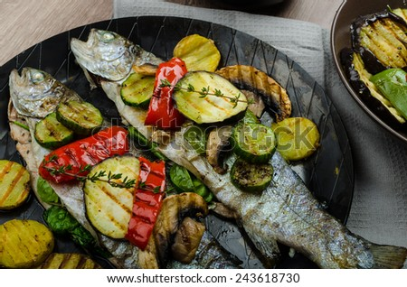 Grilled Trout with Mediterranean vegetables, fresh fish with healthy vegetable, best bio healthy meal
