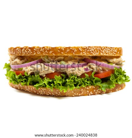 Grilled Tuna Panini Sandwich on white background. Selective focus. - stock photo