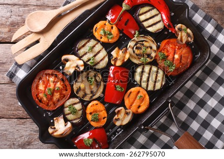 grilled vegetables in a pan grill closeup. horizontal view from above  - stock photo