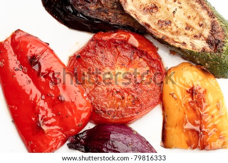 Grilled vegetables on a white plate, colorful - stock photo