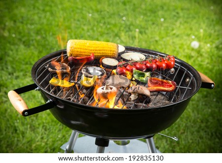 Grilled vegetables on the grill, close-up. - stock photo