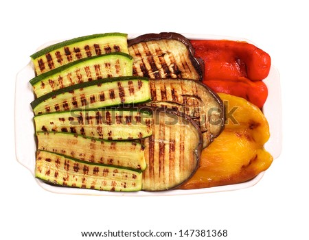 Grilled vegetables on white background - stock photo