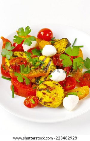 Grilled vegetables with mozzarella cheese. Cherry tomatoes, pepper, eggplant, zucchini served in white plate on white background with fresh herbs. Vegetarian food. - stock photo